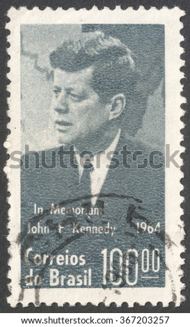 MOSCOW, RUSSIA - JANUARY, 2016: a post stamp printed in BRAZIL shows a portrait of  John F. Kennedy, devoted to President Kennedy Commemoration, circa 1964 - stock photo
