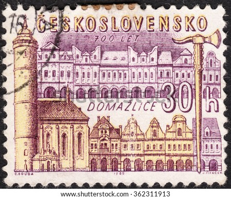 "MOSCOW, RUSSIA - JANUARY, 2016: a post stamp printed in CZECHOSLOVAKIA shows Domazlice town, the series ""The 700th Anniversaries of Six Czech Towns"", circa 1965 - stock photo"