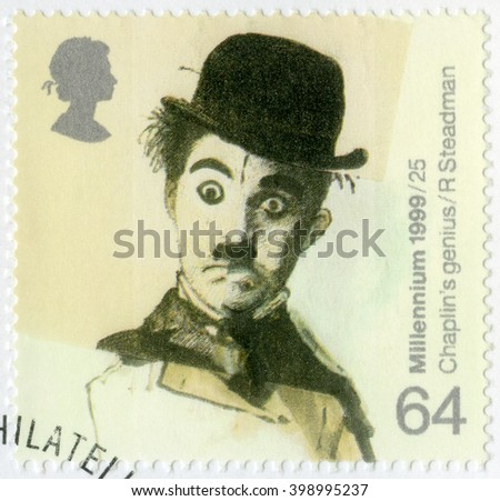 MOSCOW, RUSSIA - JANUARY 16, 2016: A stamp printed in Great Britain shows portrait of Charlie Chaplin (1889-1977), series British Achievements During Past 1000 Years, Entertainment and sports, 1999 - stock photo