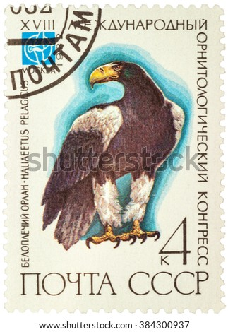"MOSCOW, RUSSIA - JANUARY 22, 2016: stamp printed in USSR (Russia) shows sitting eagle (Haliaeetus pelagicus), series ""The 18th International Ornithological Congress"", circa 1982 - stock photo"