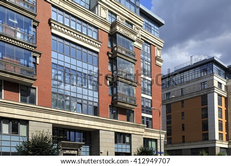 MOSCOW, RUSSIA - JULY, 16. Buildings of the new luxury residential complex Four suns in the center of Moscow, Russia on July 16, 2015, Russia.  - stock photo