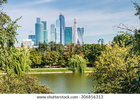 Moscow, Russia - July 30, 2015: skyscrapers Moscow International Business Center Moscow-City. Located near the Third Ring Road, the Moscow-City area is currently under development - stock photo
