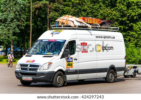 MOSCOW, RUSSIA - JULY 7, 2012: Ukraine Line racing team's assistance truck Dodge Sprinter No. 446 in the city street during the annual Silkway Rally - Dakar series. - stock photo