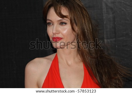 MOSCOW, RUSSIA - JULY 25: US Actress Angelina Jolie attends the premier of the new movie 'Salt' in Oktyabr cinema hall on July 25, 2010 in Moscow, Russia - stock photo