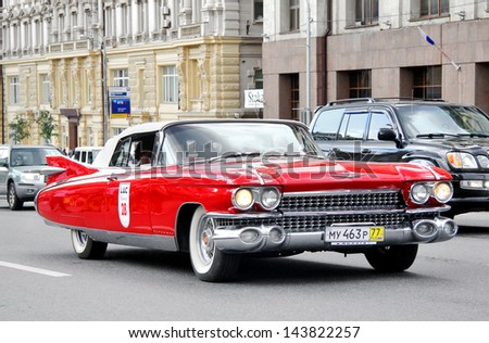 MOSCOW, RUSSIA - JUNE 2: American motor car Cadillac Eldorado competes at the annual L.U.C. Chopard Classic Weekend Rally on June 2, 2013 in Moscow, Russia. - stock photo