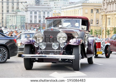 MOSCOW, RUSSIA - JUNE 2, 2013: American motor car Cadillac V-16 competes at the annual L.U.C. Chopard Classic Weekend Rally. - stock photo