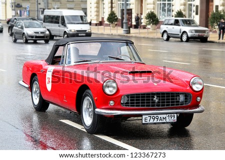 MOSCOW, RUSSIA - JUNE 3: Italian motor car Ferrari 250GT competes at the annual L.U.C. Chopard Classic Weekend Rally on June 3, 2012 in Moscow, Russia. - stock photo