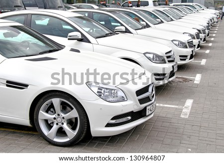 MOSCOW, RUSSIA - JUNE 2: Line of modern Mercedes-Benz vehicles taking part at the annual Panauto Travel Rally on June 2, 2012 in Moscow, Russia. - stock photo