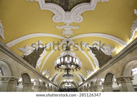 MOSCOW, RUSSIA - JUNE, 01 2015: Metro station Komsomolskaya in Moscow, Russia. Metro station Komsomolskaya is a monument of the Soviet era - stock photo