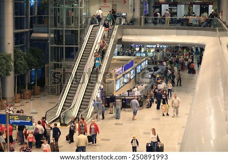 Moscow, RUSSIA - JUNE 13: passengers are expected to pick up at the airport Sheremetyevo-2, the check in baggage on June 13, 2014, in Moscow, Russia - stock photo
