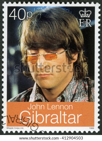 MOSCOW, RUSSIA - MARCH 12, 2016: A stamp printed in Gibraltar shows John Winston Ono Lennon (1940-1980), singer and songwriter, 1999 - stock photo