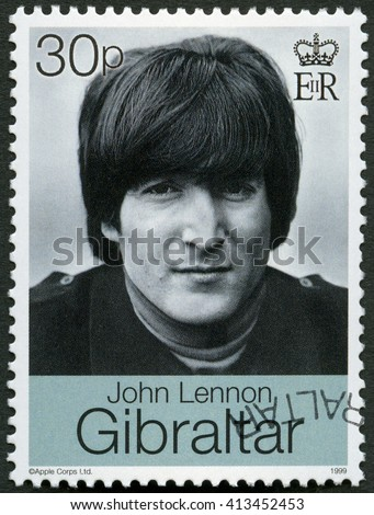 MOSCOW, RUSSIA - MARCH 12, 2016: A stamp printed in Gibraltar shows John Winston Ono Lennon (1940-1980), singer and songwriter,1999 - stock photo