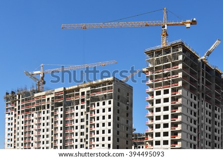MOSCOW, RUSSIA - MARCH 20, 2016: Construction of modern residential building in Moscow - stock photo