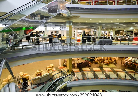 MOSCOW, RUSSIA - MARCH 05 2015: Interior Furniture shopping complex Grand. Furniture shopping mall GRAND - the largest specialty shop in a Russia and Europe. - stock photo