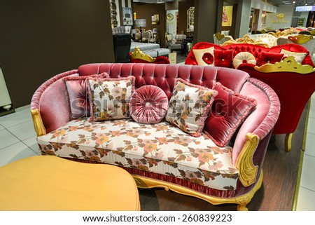 MOSCOW, RUSSIA - MARCH 05 2015: Interior Furniture shopping complex Grand. Furniture shopping mall GRAND - the largest specialty shop in Russia and Europe. - stock photo