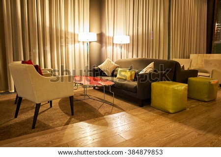 MOSCOW, RUSSIA - MARCH 29, 2015: interior of DoubleTree by Hilton. DoubleTree by Hilton is an American hotel chain and a part of Hilton Worldwide - stock photo