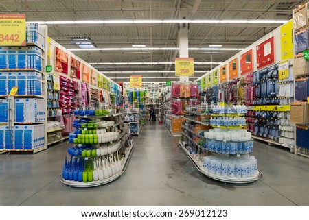 MOSCOW, RUSSIA - MARCH 03, 2015. The interior of Leroy Merlin Store. Leroy Merlin is French home-improvement and gardening retailer serving thirteen countries - stock photo