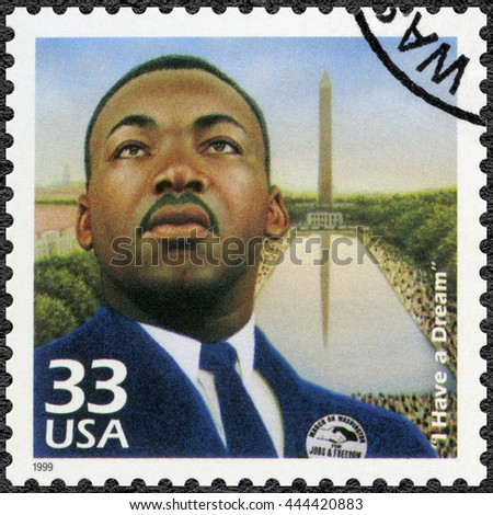 MOSCOW, RUSSIA - MAY 11, 2016: A stamp printed in USA shows Martin Luther King, Jr. (1929-1968), I Have a Dream, speech 28 August 1963, civil rights leader, Celebrate the Century, 1960s, circa 1999 - stock photo