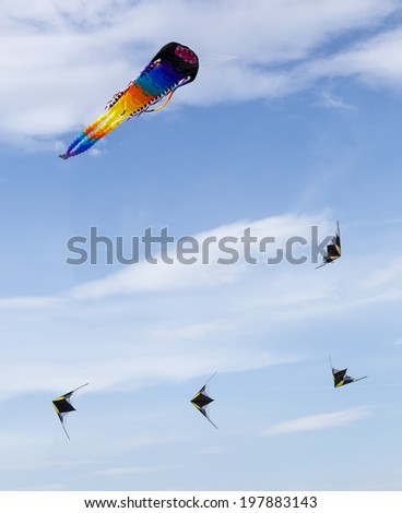 """MOSCOW, RUSSIA - MAY 31: Group of the colored kites in the blue sky at the """"Harlequin sky"""" kites festival on MAY 31, 2014 in Moscow, Russia.   - stock photo"""