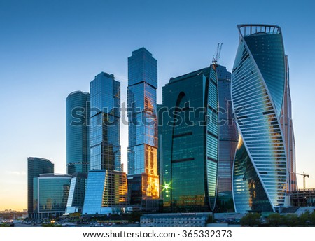 Moscow, Russia - May 22, 2015: Moscow-city at evening (Moscow International Business Center) against the backdrop of the sunset sky in color, Moscow, Russia. - stock photo