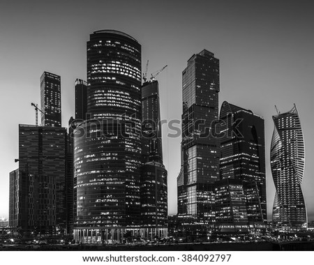 Moscow, Russia - May 22, 2015: Moscow-city at night (Moscow International Business Center) against the backdrop of the night sky in black and white style. Moscow, Russia. - stock photo