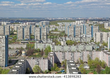 MOSCOW, RUSSIA - MAY 05, 2015: Moscow cityscape, South-Western Administrative Okrug. Top view of the Yasenevo District, Paustovskogo street - stock photo