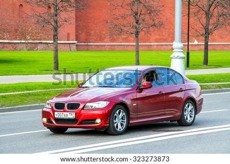 MOSCOW, RUSSIA - MAY 5, 2012: Motor car BMW E90 3-series at the city street. - stock photo