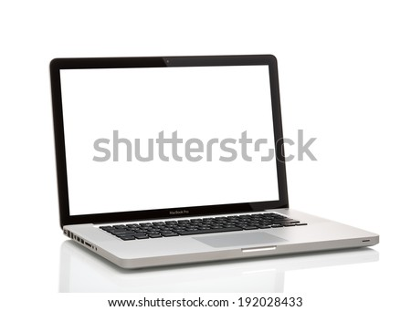MOSCOW, RUSSIA - MAY 10 , 2014: Photo of a MacBook Pro. MacBook Pro is a laptop developed by Apple Inc. - stock photo