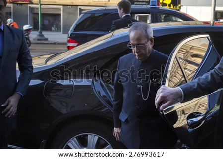 MOSCOW,RUSSIA - MAY 10: President of the Republic of India Pranab Mukherjee out of the car on Tverskaya street in Moscow on 10 of May 2015, Russia - stock photo