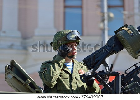 MOSCOW, RUSSIA - MAY 7, 2015: Rehearsal For Victory Parade which will take place in Red Square on 9 May 2015 to commemorate 70th anniversary of capitulation of Nazi Germany in 1945 - stock photo