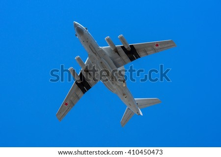 Moscow, Russia - May 9, 2014: The Beriev A-50 is a Soviet-built airborne warning and control system (AWACS) in flight at Parade of Victory in World War II May 9, 2014 in Moscow - stock photo