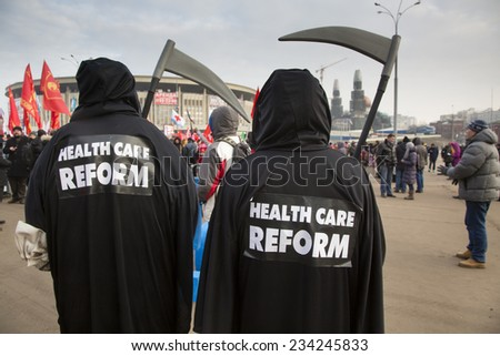 MOSCOW, RUSSIA - NOV 30: Thousands of medical staff staged at rally against the healthcare system reform in center of Moscow, Russia on 30 of November 2014 - stock photo