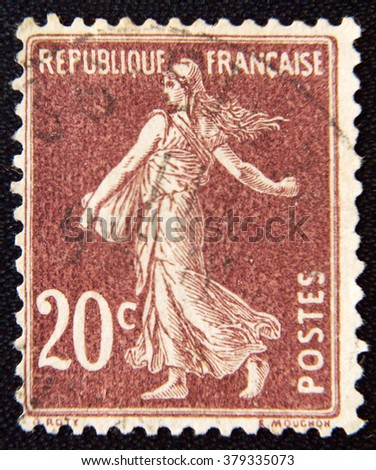 MOSCOW, RUSSIA - NOVEMBER 25, 2012: A stamp printed by France shows sowing, circa 1906 - stock photo