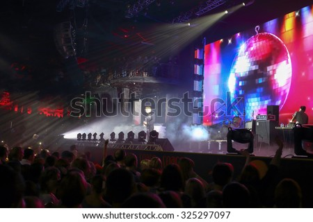MOSCOW, RUSSIA - NOVEMBER 15, 2014: J-Power duet performs on stage at a party Diskach 90th in a club Space Moscow. J-Power - Russian pop group, founded in 2000 - stock photo
