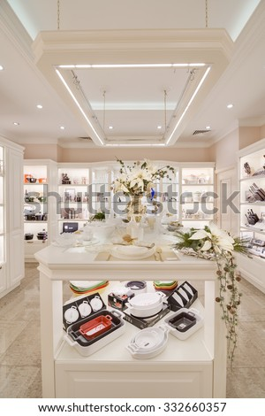 MOSCOW, RUSSIA - November 27, 2013 - Modern high fashion furniture and house decoration store in large shopping mall - stock photo