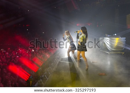 MOSCOW, RUSSIA - NOVEMBER 15, 2014: Propaganda group on stage at a party Diskach 90th in a club Space Moscow. Propaganda - Russian female pop group, founded in 2001 - stock photo