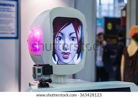 "Moscow, Russia, November 20, 2015: The 3rd International Exhibition of Robotics and advanced technologies ""Robotics Expo"" in Moscow. Focus on the head - stock photo"