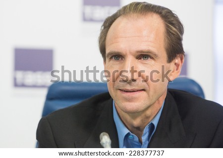 MOSCOW, RUSSIA, October, 28: Actor RALPH FIENNES. Press Conference. October, 28, 2014 at TASS agency in Moscow, Russia - stock photo