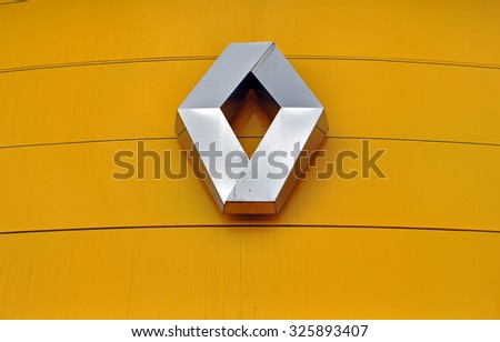 MOSCOW, RUSSIA - OCTOBER 10, 2015: Logotype of Renault corporation on October 10, 2015. Renault is the French automotive manufacturer.  - stock photo