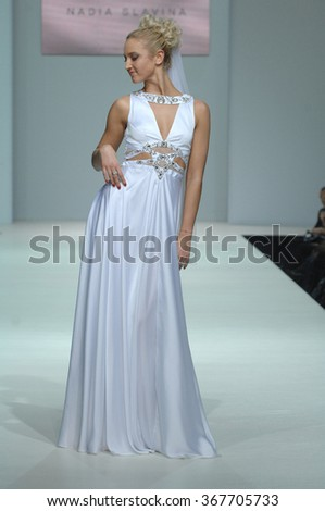 MOSCOW, RUSSIA - October 28, 2011: Moscow Fashion Week in Gostiny Dvor. Russian TV presenter Olga Buzova in the show of fashion Slavina - stock photo
