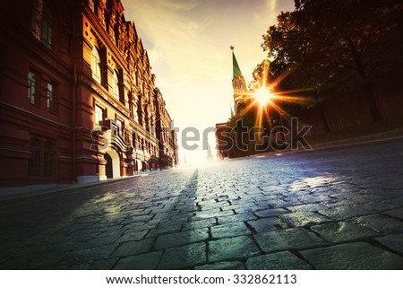 Moscow, Russia, Red square. Scenic view. No people. - stock photo