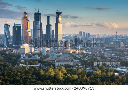 MOSCOW, RUSSIA - SEP 02, 2014: Building of Moscow International Business Center (Moscow-City) on the background of the city  - stock photo