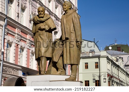 MOSCOW, RUSSIA - SEP 20: View of new monument to Konstantin Stanislavsky and Nemirovich-Danchenko in front of Chekhov Moscow Art Theatre in center of Moscow on 20 of September 2014 - stock photo