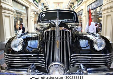 Moscow, RUSSIA â?? SEPTEMBER 12: Exhibition of rare vintage cars in GUM on SEPTEMBER  4, 2014, in Moscow, Russia - stock photo