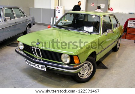 MOSCOW, RUSSIA - SEPTEMBER 30: German motor car 1979 BMW E21 316 presented at the annual motor show Ilya Sorokin's Oldtimer Gallery on September 30, 2012 in Moscow, Russia. - stock photo