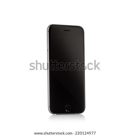 MOSCOW, RUSSIA - SEPTEMBER 27, 2014: New iPhone 6 is a smartphone developed by Apple Inc. Apple releases the new iPhone 6 and iPhone 6 Plus  - stock photo