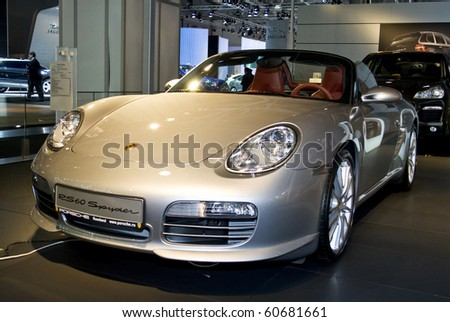 MOSCOW, RUSSIA - SEPTEMBER 5: Porsche RS60 Spyder presented at the Moscow International Autosalon on September 5, 2008 in Moscow. - stock photo