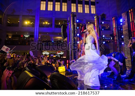 MOSCOW, RUSSIA, September, 20: Singer Vera Brezhneva. Opening Ceremony Vegas  Shopping Mall, 20, 2014 at Vegas  Center in Moscow, Russia - stock photo