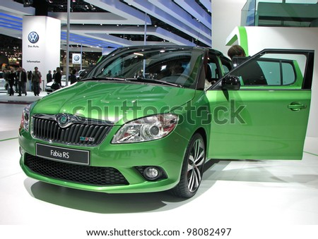 MOSCOW, RUSSIA - SEPTEMBER 1: Skoda Fabia RS on display at the Moscow International Autosalon on September 1, 2010 in Moscow, Russia. - stock photo