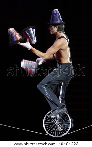MOSCOW, RUSSIA - SEPTEMBER 03: The unknown equilibrist carries out show with buckets at Moscow International Circus Festival on September 03, 2009 in Moscow, Russia. - stock photo